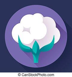 Flat Cotton icon vector. white nature cotton plant