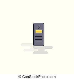 Flat CPU Icon. Vector