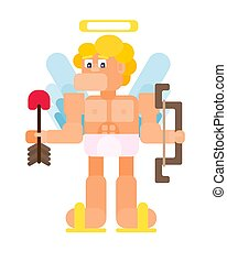 flat cupid man with arrow and bow