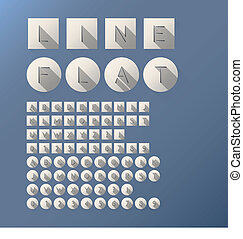 Flat Cut Line Font and Numbers
