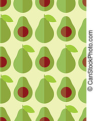 Flat cute avocado and half with seed, seamless pattern