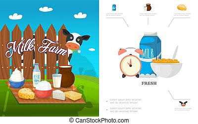Flat Dairy Products Concept