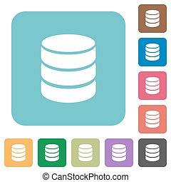 Flat database icons on rounded square color backgrounds.