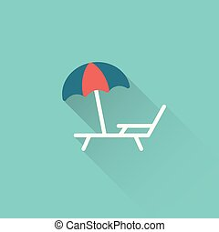 flat deckchair with umbrella icon on blue background