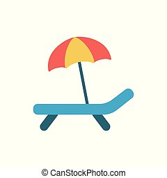 deckchair with umbrella icon on white background