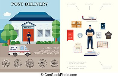 Flat Delivery Colorful Concept