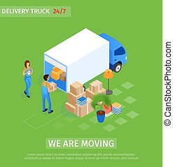 Flat Delivery Truck, we are Moving Lettering. Service...