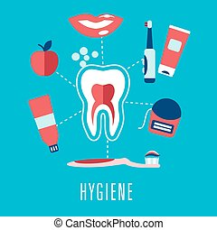Flat dental hygiene icons on blue background - Dental...