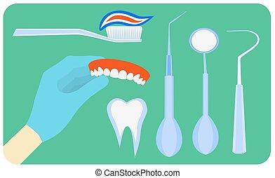 Flat dental instruments set design concept background. Vector illustration