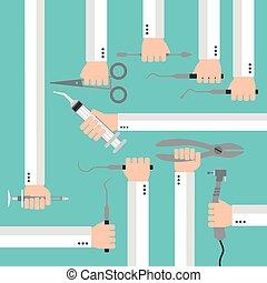 Flat dental instruments set design