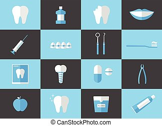 Flat Dental Vector Set
