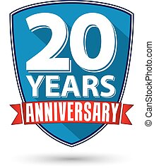 Flat design 20 years anniversary label with red ribbon, vector illustration