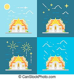 Flat design 4 style of Thai temple Thailand