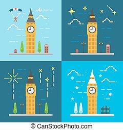 Flat design 4 styles of Big ben clock tower London United Kingdom