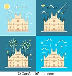Flat design 4 styles of Duomo di Milano Italy illustration...