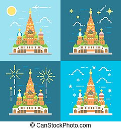 Flat design 4 styles of saint Basil's Cathedral illustration...