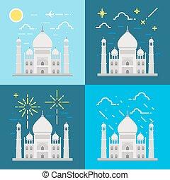 Flat design 4 styles of Taj Mahal India