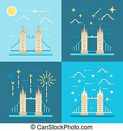 Flat design 4 styles of tower bridge UK