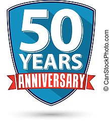 Flat design 50 year anniversary label with red ribbon,...