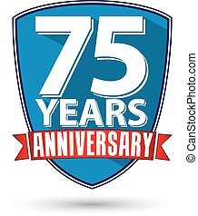 Flat design 75 years anniversary label with red ribbon, vector illustration