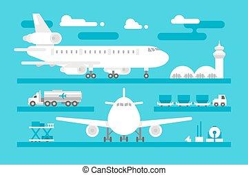 Flat design airport activity set