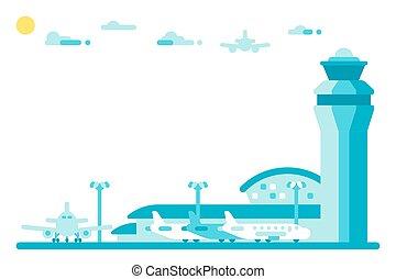 Flat design airport tower