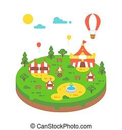Flat design amusement park