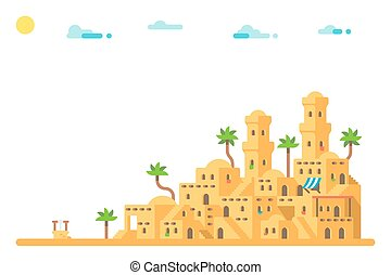 Flat design Ancient mud houses background
