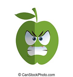 angry apple cartoon icon