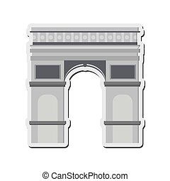 arc de triomphe icon - flat design arc de triomphe icon...