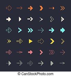 Flat Design Arrows Set on Black Background