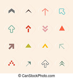 Flat Design Arrows Set Vector Illustration on Recycled Paper Background