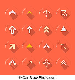 Flat Design Arrows Set Vector Illustration on Red Background