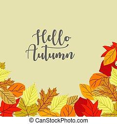 Flat design autumn leaves background. - Vector.