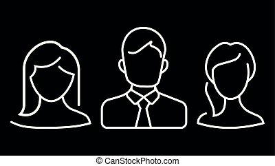 flat design avatar app icons set user face people man woman vector