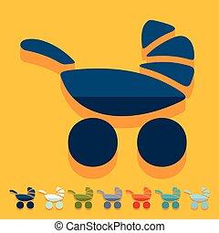 Flat design: baby buggy