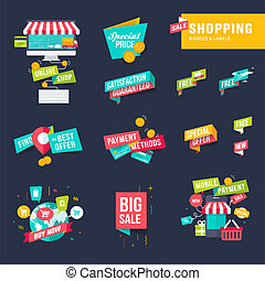 flat design badges and labels - Set of flat design shopping ...