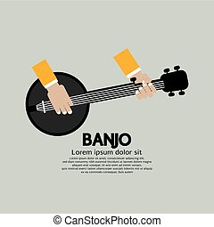Flat Design Banjo Playing Vector Illustration