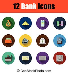 Flat design bank icon set