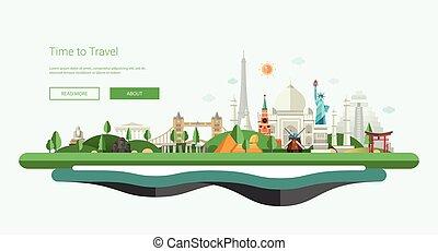 Flat design banner, header illustration with world famous...
