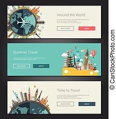 Flat design banners, headers set illustration with world famous landmarks