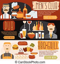 flat design banners with men's club,bbq and pub theme