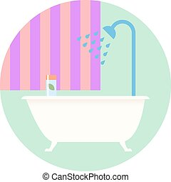 Flat Design Bathroom with Bath Icon. Vector