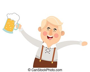 bavarian man with beer icon
