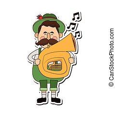 bavarian musician icon - flat design bavarian musician icon...