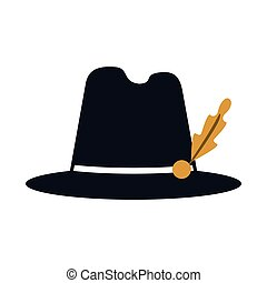 bavarian tyrolean hat icon - flat design bavarian tyrolean...