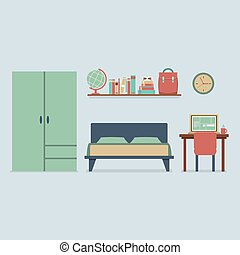 Flat Design Bedroom Interior.