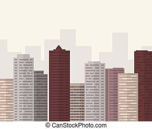 Flat design big city with smog under gray sky