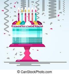 Flat Design Birthday Cake