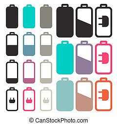 Flat Design Black Battery Life Vector Icons Set